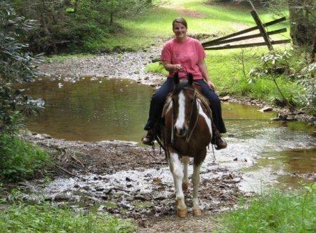 Виргинская горная лошадь с женщиной в седле, фото