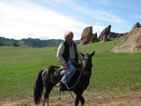 Монгольский пони с наездником, фото
